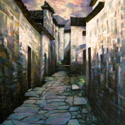 Ancient Village - Oil on Canvas 24 X 30 inches - Inspired from a Village in China