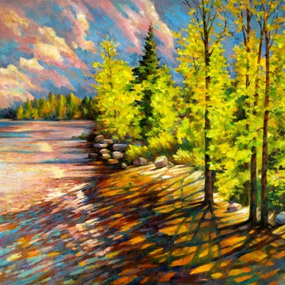 At Water's Edge - Oil on Canvas 24 X 30 inches - Inspired by Yellowstone National Park