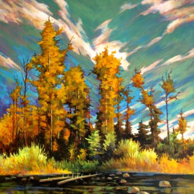 Azure - Acrylic on Canvas 24 X 30 Inches - A beautiful autumn day along the banks of the Edmonton River Valley