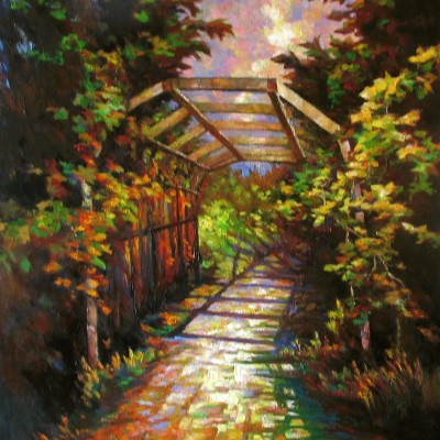 An Arched Path - Oil on Canvas 24 X 30 Inches - Devonian Garden